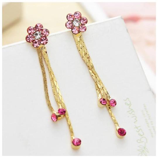 Other Swarovski Crystals Pink Flower Earrings S7