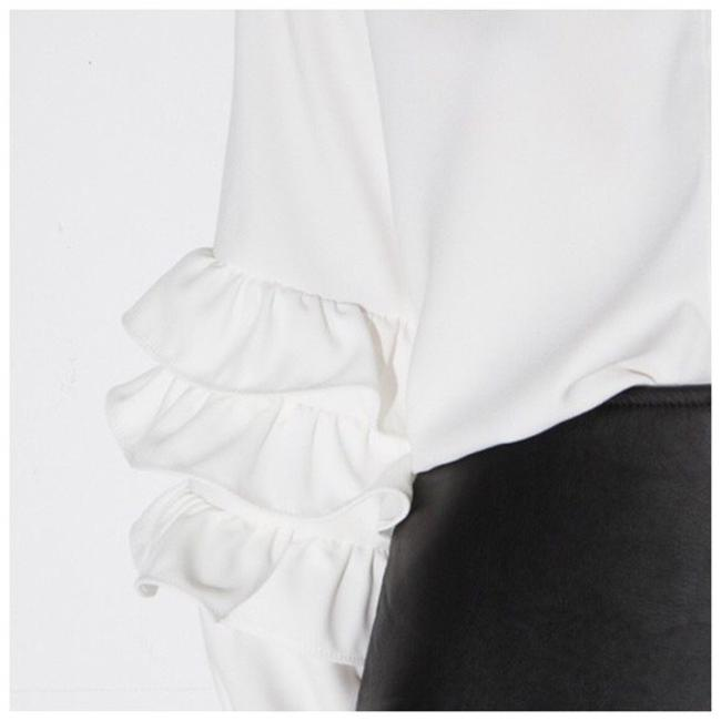 Other Ruffle Sleeve Button Up Top White