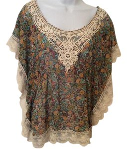 American Rag Cie 100 % Poly Lace Earthtone Scoop Neck Top Multi with cream