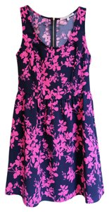 Collective Concepts short dress Blue and Purple Sleeveless Zipper Tropical Floral Fit Flare on Tradesy