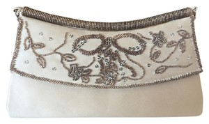 Nina Beaded Satin Formal Evening Cream Beige Clutch