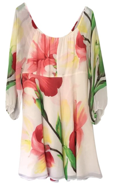 Item - White Red/Pink Green Tropical Print Mid-length Cocktail Dress Size 8 (M)