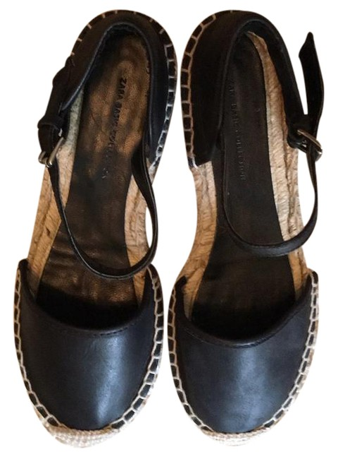 Item - Black Leather Round Toe Espadrilles with Ankle Strap Flats Size US 6.5 Regular (M, B)