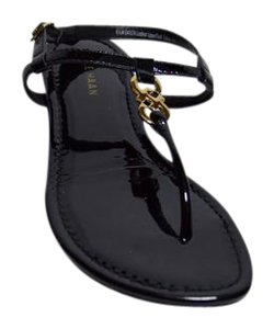 Cole Haan Thong Patent Leather New Black Sandals