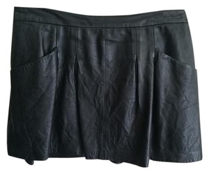 Theory Leather Grunge Mini Skirt Black