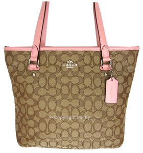 Coach Zip Top F58282 Signature Canvas Outline Tote in Khaki Brown / Blush Pink