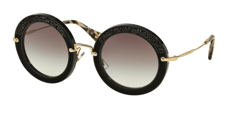 58c129d696 Miu Miu MIU MIU Embellished round sunglasses with crystals Image 0 ...