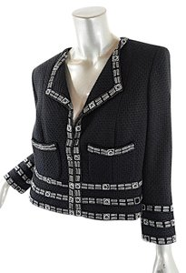 Chanel Cotton Blend Mother Of Pearl Black Blazer