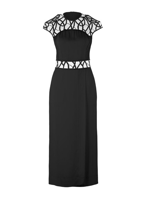 Item - Black Embroidered Intertwined Vines Silk Long Formal Dress Size 6 (S)