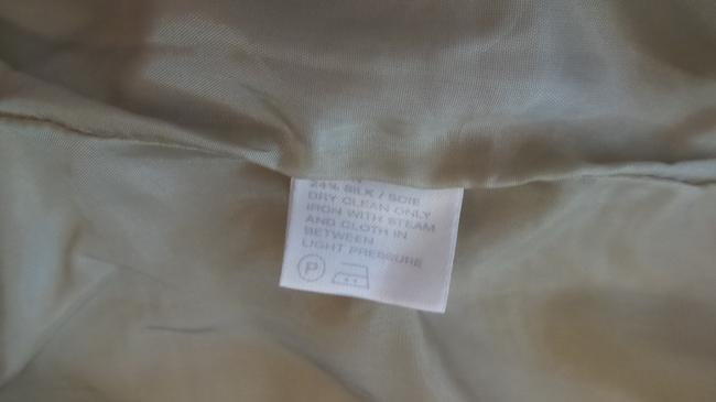 Lafayette 148 New York Silk Medium Stand Up Lightweight Beige (perhaps leaning twoards sage green) Jacket Image 7