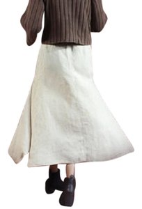 Max Mara Linen Drawstring Maxi Skirt NATURAL