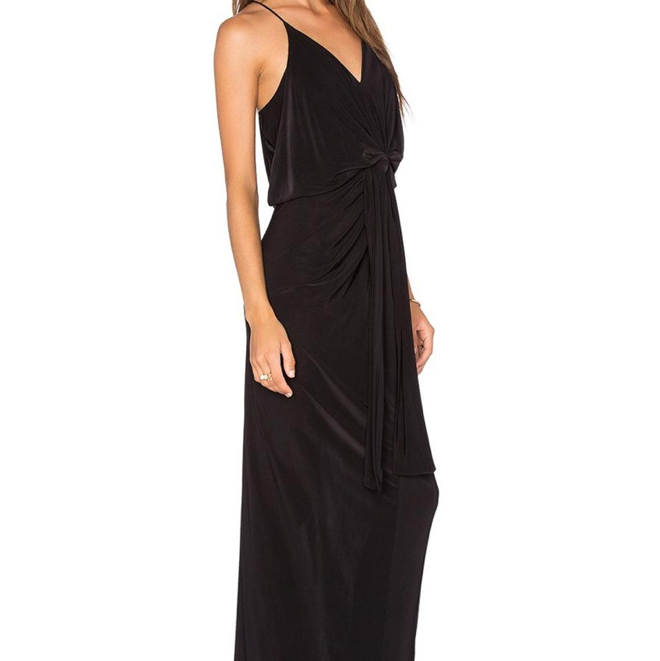 MISA Los Angeles Black Domino Tie Front Maxi Long Formal Dress Size ...