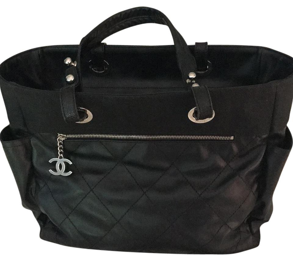 bf486450a15786 Chanel Biarritz Black Leather and Canvas Tote - Tradesy