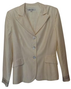 Kay Unger Lightweight White Party Embroidered New Dupioni Ivory Blazer