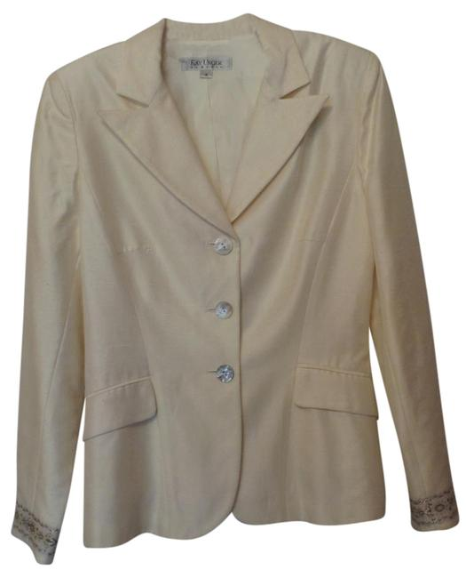 Kay Unger Lightweight White Party Embroidered New Dupioni Ivory Blazer Image 0
