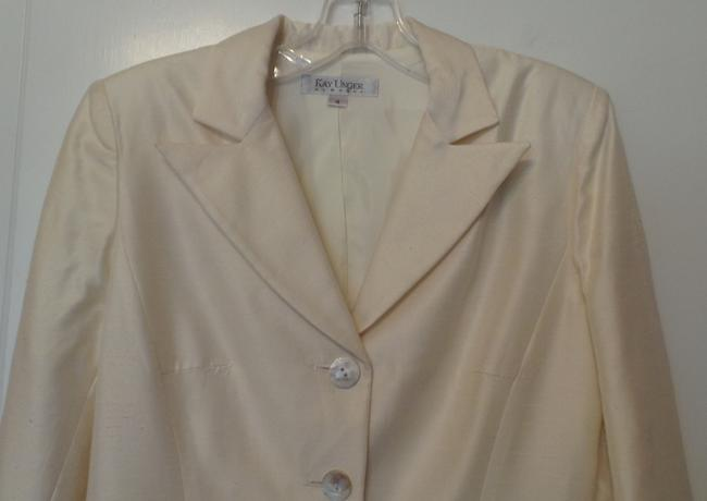 Kay Unger Lightweight White Party Embroidered New Dupioni Ivory Blazer Image 1