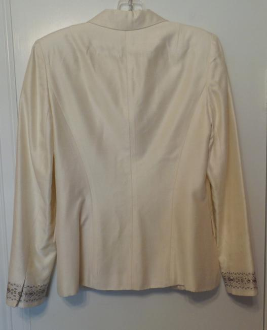 Kay Unger Lightweight White Party Embroidered New Dupioni Ivory Blazer Image 3