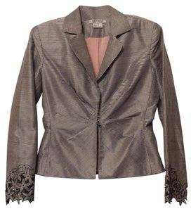 Kay Unger New Silk Embroidered Ruched Lightweight Black & white Jacket