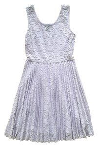 Aqua short dress Lilac, purple Lace Fitted Pastel Floral Pleated on Tradesy