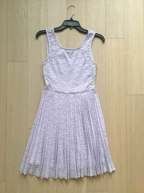 Aqua short dress Lilac, purple Lace Fitted Pastel Floral Pleated on Tradesy Image 1