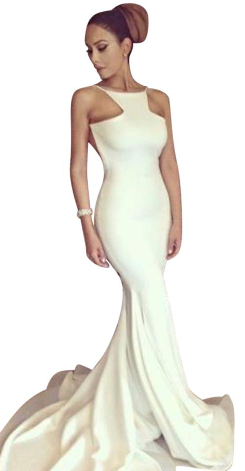 Michael Costello White Summer Gown Long Formal Dress Size 4 S