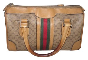 Gucci Small G Logo Print Great Everyday Doctor's/Boston Two-way Style Satchel in shades of brown with wide red/green stripe
