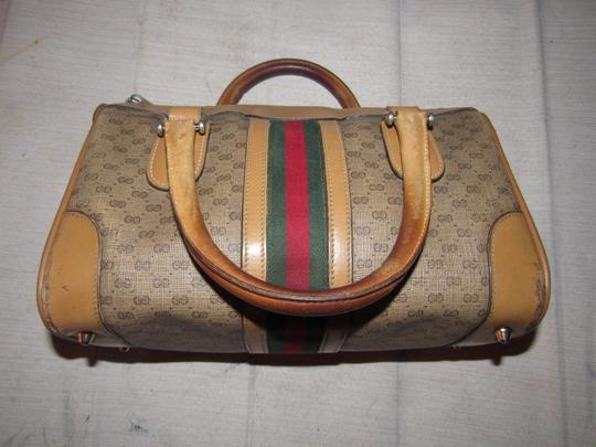 Gucci Small G Logo Print Great Everyday Doctor's/Boston Two-way Style Satchel in shades of brown with wide red/green stripe Image 1