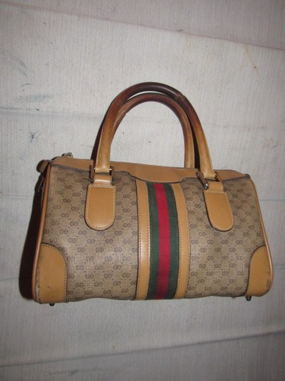 Gucci Small G Logo Print Great Everyday Doctor's/Boston Two-way Style Satchel in shades of brown with wide red/green stripe Image 3