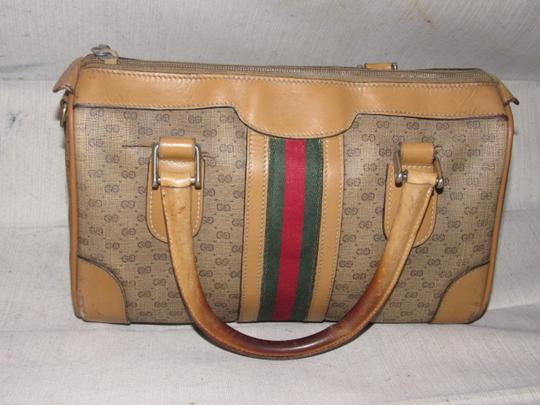 Gucci Small G Logo Print Great Everyday Doctor's/Boston Two-way Style Satchel in shades of brown with wide red/green stripe Image 8