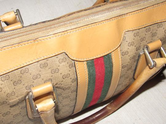 Gucci Small G Logo Print Great Everyday Doctor's/Boston Two-way Style Satchel in shades of brown with wide red/green stripe Image 9