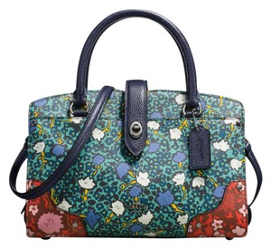 Coach Leather Rare Mercer 24 889532705634 Satchel in DARK GUNMETAL/TEAL YANKEE FLORAL MLT