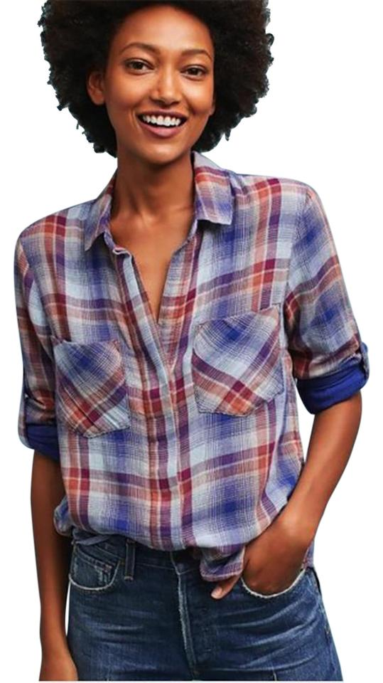 38587d483f23 Anthropologie Plaid XS Cloth & Stone Roll-over Sleeve Shirt Button  Button-down Top