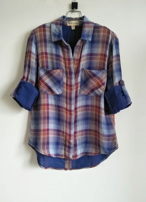 Anthropologie Cloth Stone Shirt Anthro Check Button Down Shirt plaid Image 2