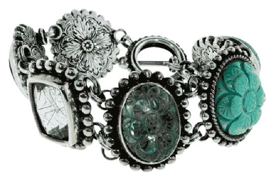 Preload https://img-static.tradesy.com/item/21373943/stephen-dweck-silver-green-black-brown-must-see-statement-with-ori-pouch-bracelet-0-1-540-540.jpg