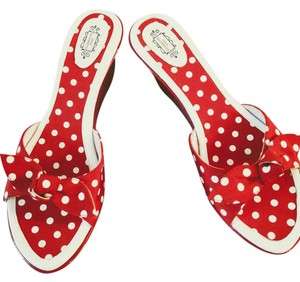 Lulu Guinness Fun Flirty Summer Wedges Polka Dot Red with white dots Mules