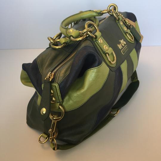 Coach Leather Satchel in Green, Blue Image 1