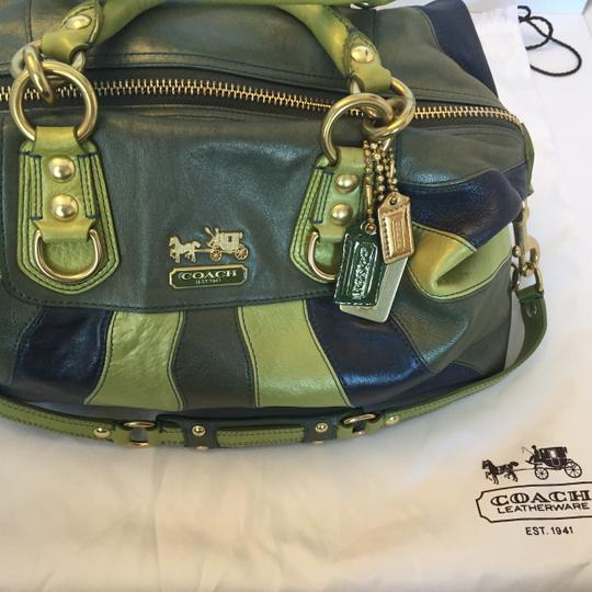 Coach Leather Satchel in Green, Blue Image 2