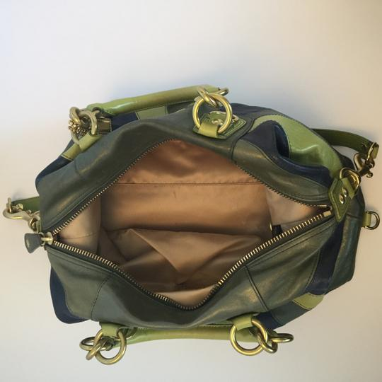 Coach Leather Satchel in Green, Blue Image 3