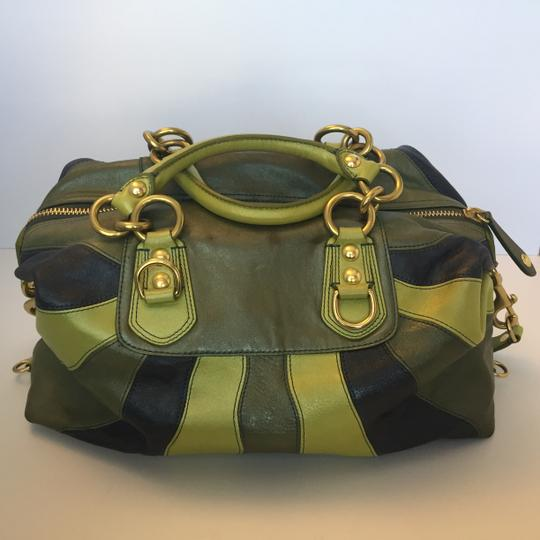 Coach Leather Satchel in Green, Blue Image 4