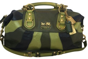 Coach Leather Green Satchel in Green, Blue