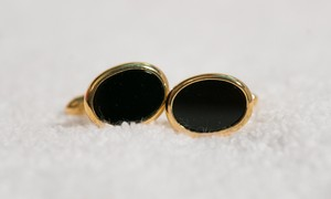 Dior Classic Black Onyx Cufflinks Oval Gold Tone Or Plated Mint!