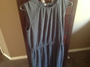 Ann Taylor LOFT short dress Gray Mid Length Charcol Color Tie Waist New With Tags on Tradesy