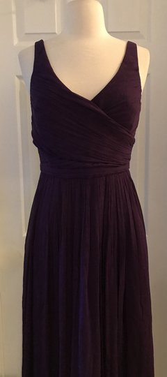 J.Crew Eggplant Heidi In Silk Chiffon Purple Bridesmaid/Mob Dress Size 4 (S) Image 4