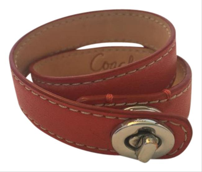 Item - Red 96317 Sv/Rd Turn Lock Leather Double Wrap Bracelet