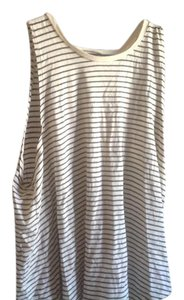 Denim & Supply Sleeveless White Strip Crossover With Tags Top Beige and black stripes
