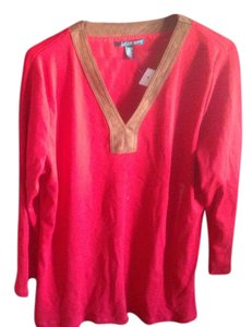 Ralph Lauren Red Blouse V Neck New Tags T Shirt Red, with brown trim