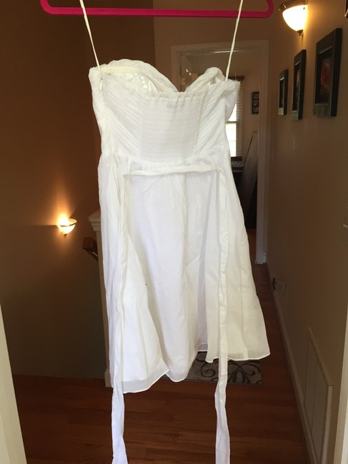 Express short dress White Removable Straps Strapless Pleated Back on Tradesy