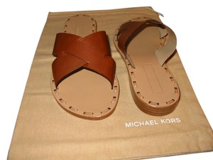 Michael Kors Leather Trim At Inner Sole Brown Leather Flats