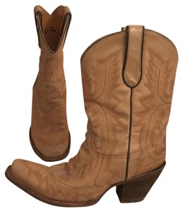 Corral Boots Western Cowboy Leather Hand Made Cowboy Beige Boots