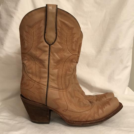 Corral Boots Western Cowboy Leather Hand Made Cowboy Beige Boots Image 3
